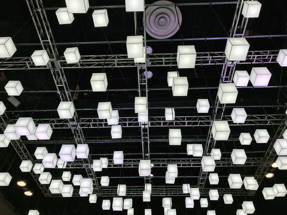 Lighting above the Oldcastle Booth at the AIA 2017 Expo