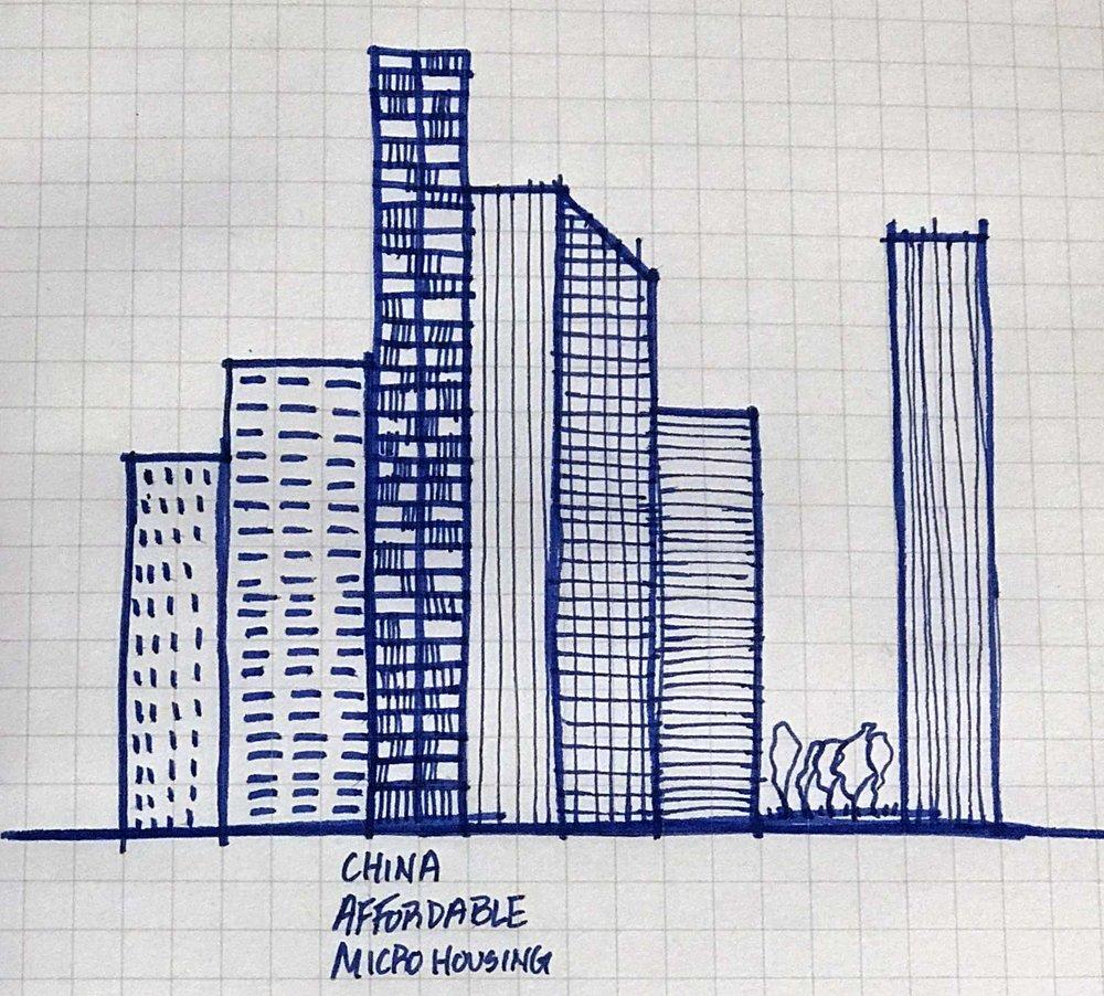 Micro Housing China Facade Sketch