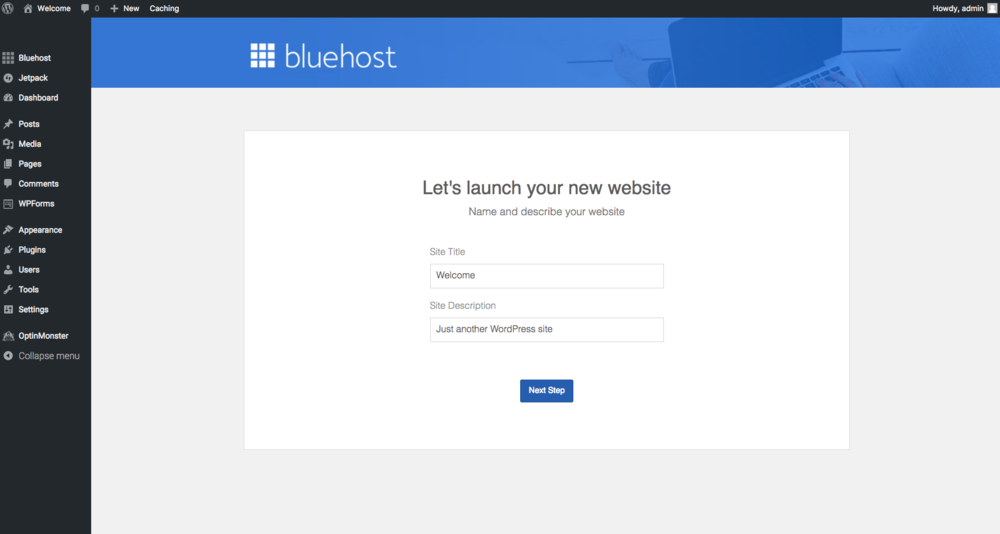 Bluehost Launch Website