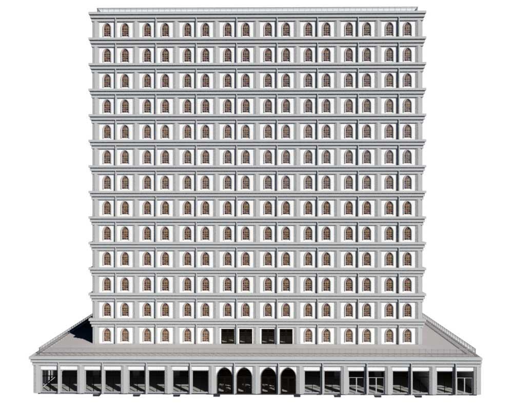 Sky Mausoleum Exterior Draft Render