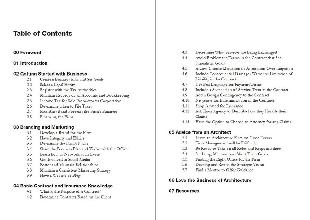 Starting an Architecture Firm Table of Contents