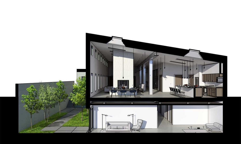Single Family High End Residence Cross Section Perspective