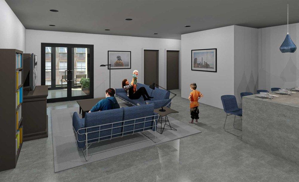 NYC Net Zero Public Housing Living Room