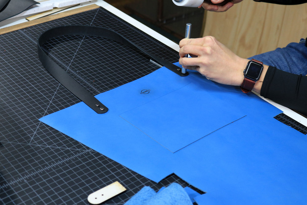 Setting Rivets for the Leather Tote Bag