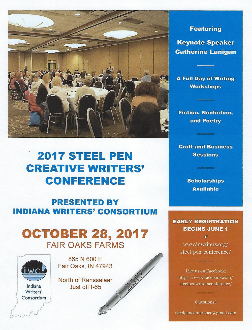 I'm delighted to participate in this fall's 2017 Steel Pen Creative Writers' Conference on Saturday, Oct 28 at Fair Oaks Farm in Fair Oaks, Indiana