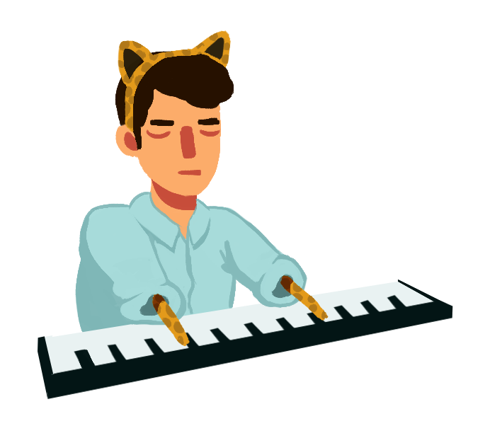 #309 is Ron Livingston as Keyboard Cat      https://www.youtube.com/watch?v=tu0qtEwb9gE
