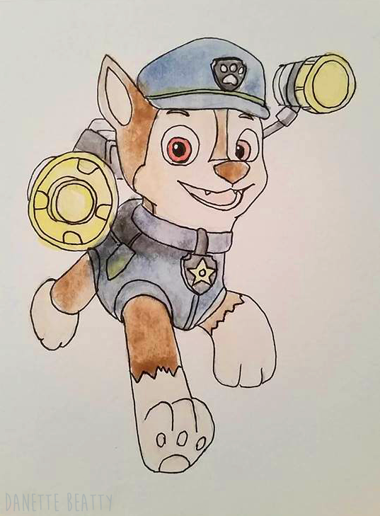 #134 It's been a long time since I've done any watercolor, or even using ink, but the next few doodles are presents for kids :) I need to practice to get better, and what better way to start! This one is a dog from Paw Patrol for Roman! Happy Holidays everyone!