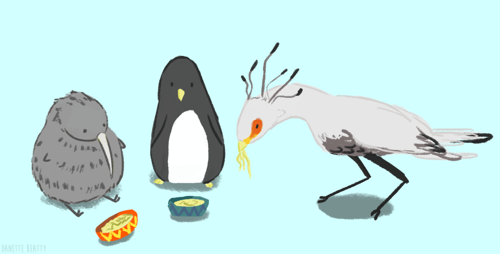 #126 is me and my friends as birds. I am a kiwi