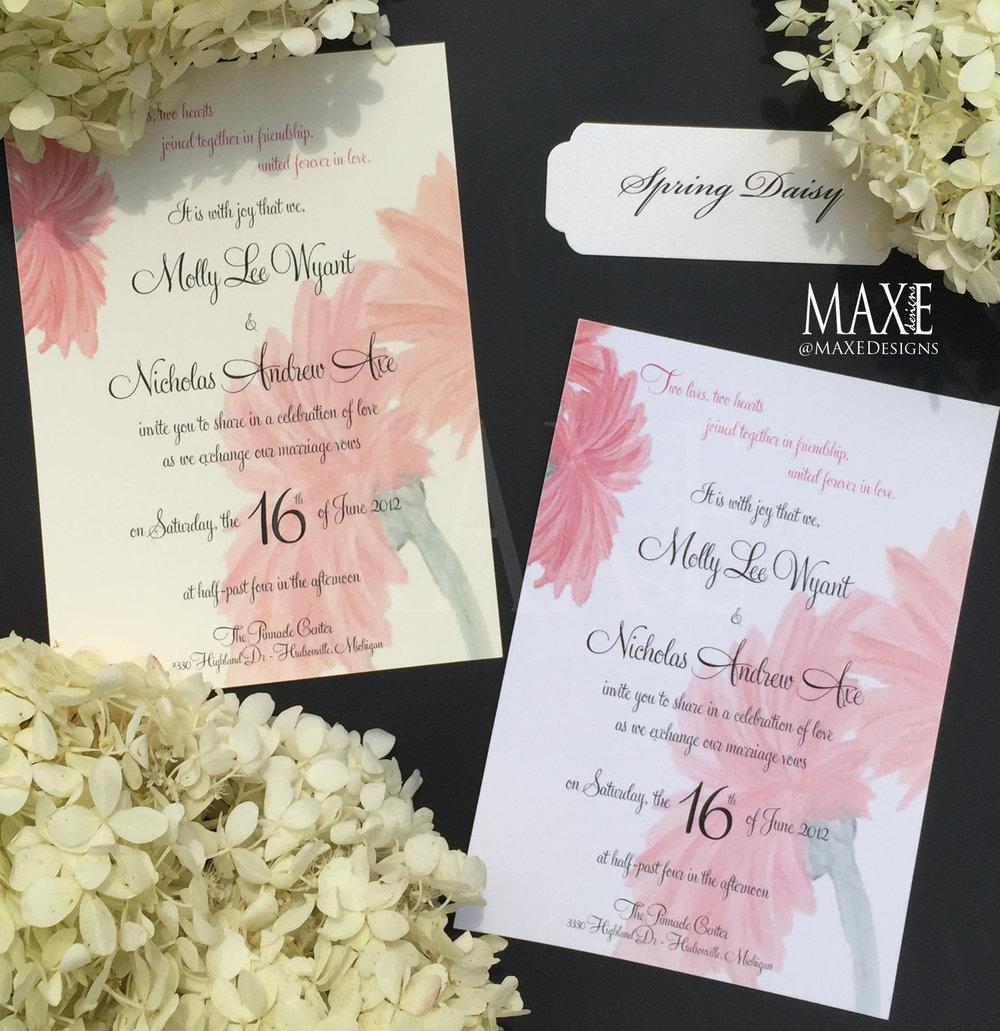 Custom Spring Gerber Daisy Wedding Invitation Suite Deposit Maxe