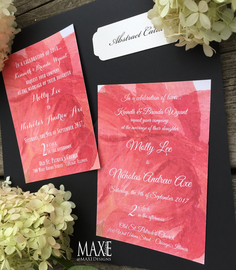 Custom Abstract Calla Wedding Invitation Suite - Deposit — Maxe ...