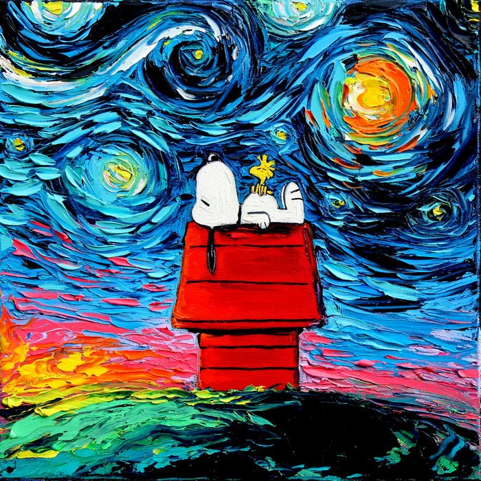 Mon Dieu!  I can only imagine what Paul Gaugin would say about this interpretation of  Starry Night  a la Snoopy and Woodstock.