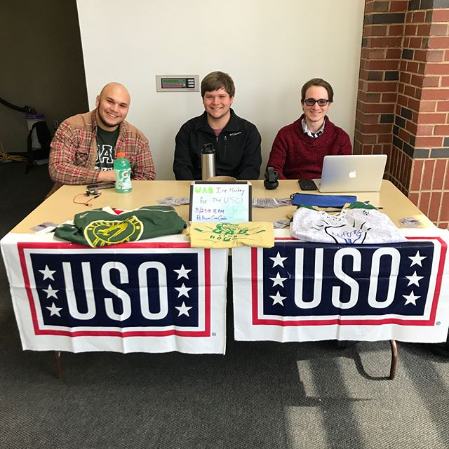 On your way to the Lunch at the Commons or a midday Study Break at Sterne, stop by one of the USO tables to speak with us or Theta Chi about the USO and getting your tickets for this Friday's hockey game! We'll be out until 4!