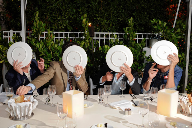 BRUCE HIGH QUALITY FOUNDATION.  A portrait of the elusive and secretive BHQF founders at a dinner during Art Basel Miami - by Casey Kelbaugh. READ MORE