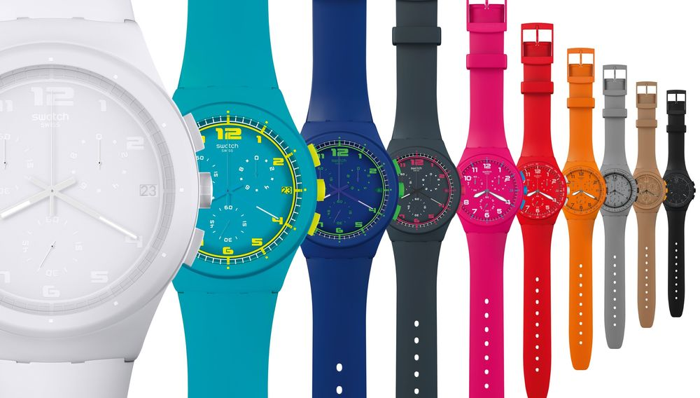 Swatch Watch shows color variations by using side-by-side product photographs