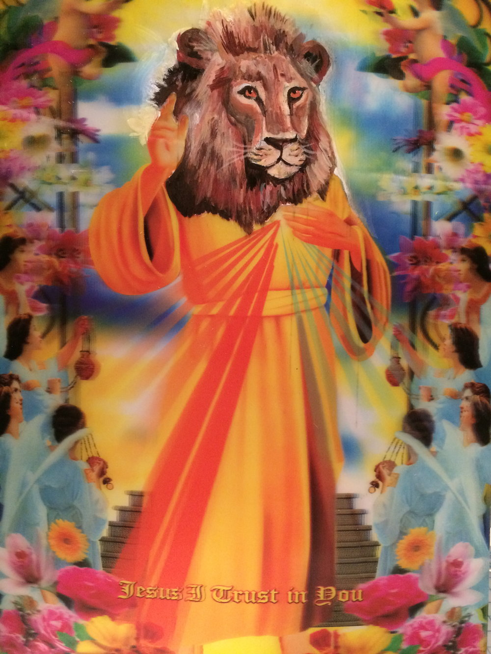 Cecil the Lion: Savior to the Endangered Species | acrylic on found lenticular | 9.5x13.5""
