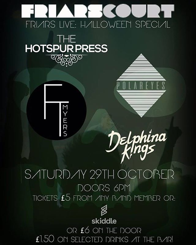 Delighted to announce we'll be headlining the @FriarsCourt Halloween party on Oct 29th in Warrington!  Tickets available now from @skiddleuk  #music #rock #indie #emo #alternative #warrington #warringtongigs #halloween #halloweenparty #thehotspurpress #otherpeople #rockshow #gigs #bands #livemusic