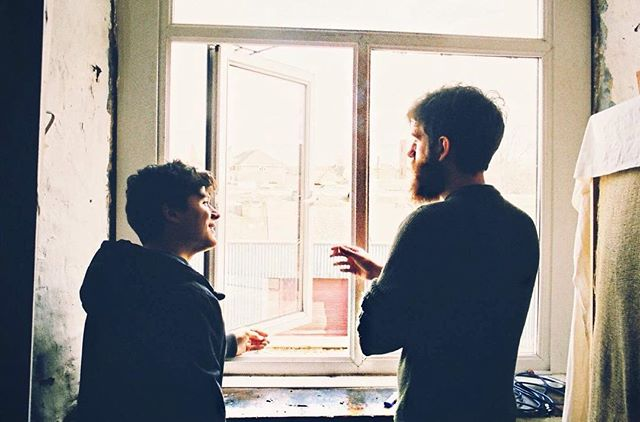 Tom and Chris on a fag break during the recording of 'Other People'. An intimate moment, captured beautifully and pretentiously on film. #otherpeople #newsingle #indie #film #hipster