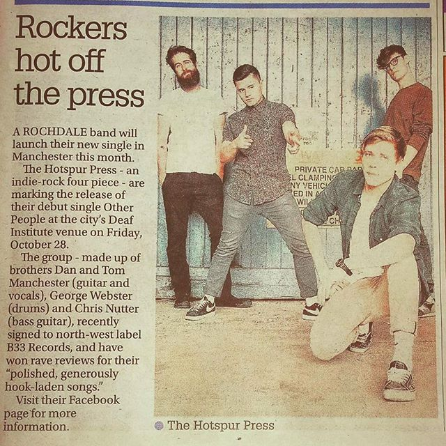 Cheers Rochdale Observer for the lovely bit of coverage for our single launch at The Deaf Institute on Friday 28th October! If you want to witness even more cheesy poses like this LIVE, grab yourself a ticket 🎉🎉🎉
