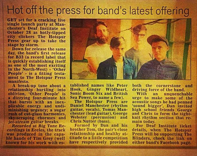 More lovely press for our single launch on Friday 28th October at the Deaf Institute, this time from the Oldham Chronicle! If you fancy it, grab your tickets quick because they're absolutely flying out right now. #press #ink #indie #otherpeople #hotoffthepress