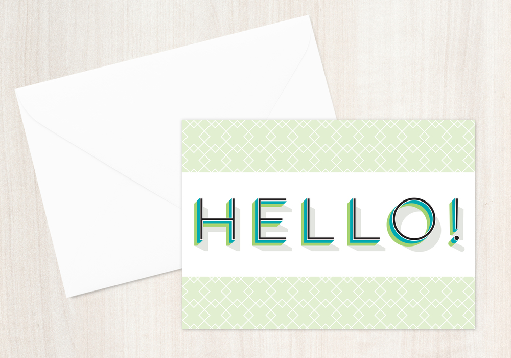 Geometric Hello Greeting Card