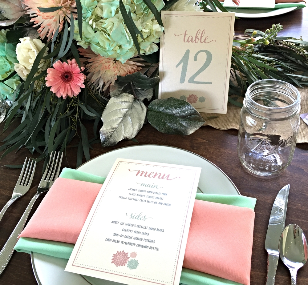 Inspire Bridal Show Menus & Table Numbers