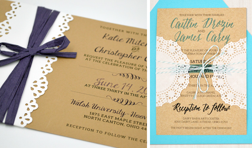 These rustic-themed wedding invitations use intricate lace detail to amp up the sophistication. Add a pop of color, and an interesting tie enclosure and you have a rustic, chic invitation!