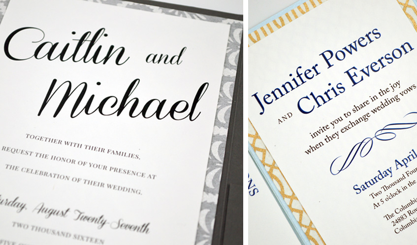 These GORGEOUS wedding invitations use custom, hand made papers featuring metallic detail to layer. Both invitations add additional shine by using shimmering folders to hold the entire suite together.