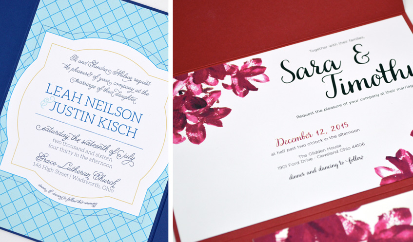 These Signature Collection invitations incorporate color in a big way. Bright blue, with hint of bright yellow is perfect for a spring or summer wedding. Hot pink, water color flowers with red hot accents are perfect for your summer or fall wedding.