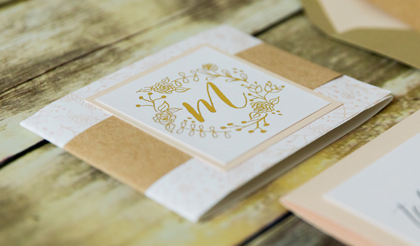 Metallic gold printing offers an unexpected twist to any invitation!