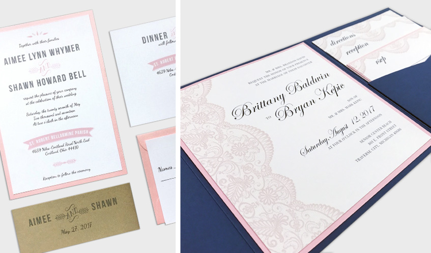 Wedding invitation suites should include all of the vital details for your wedding day. Consider using multiple insert cards to list details relating to your reception, accommodations, directions, etc.