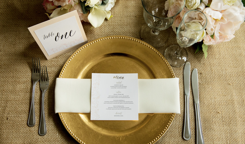Day-of stationery, like menus and table numbers, keep the tone of your wedding consistent from ceremony to reception.
