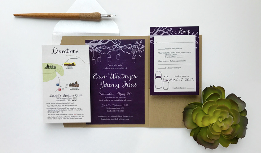 The elegant, rustic themed invitation suite created for Erin & Jeremy's wedding!