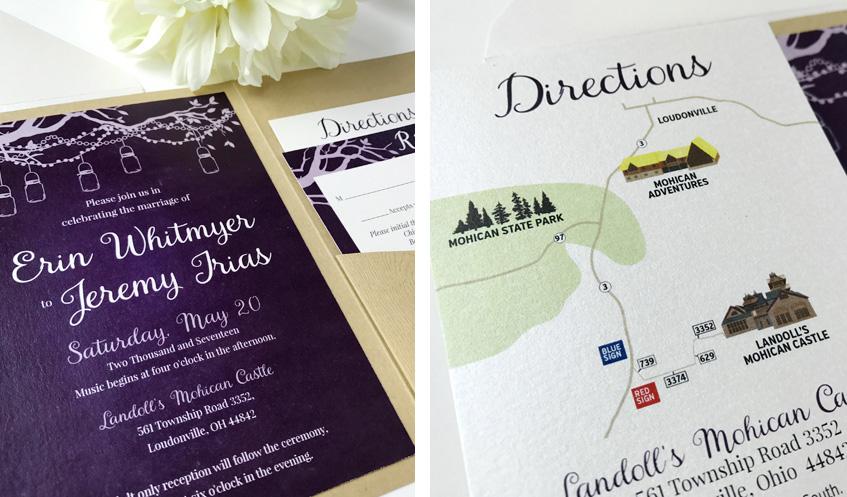 Custom Illustrated Directions Insert on Shimmer Paper