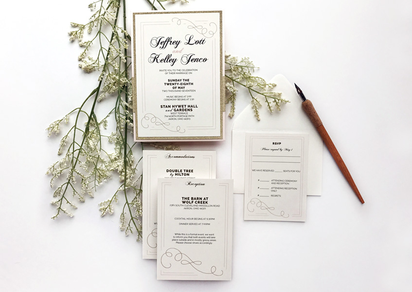 This invitation suite features a modern twist on a traditional, formal wedding invitation design..
