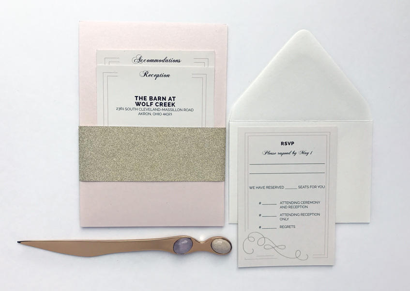 A panel pocket invitation has a convenient pocket on the back to hold all your insert cards.