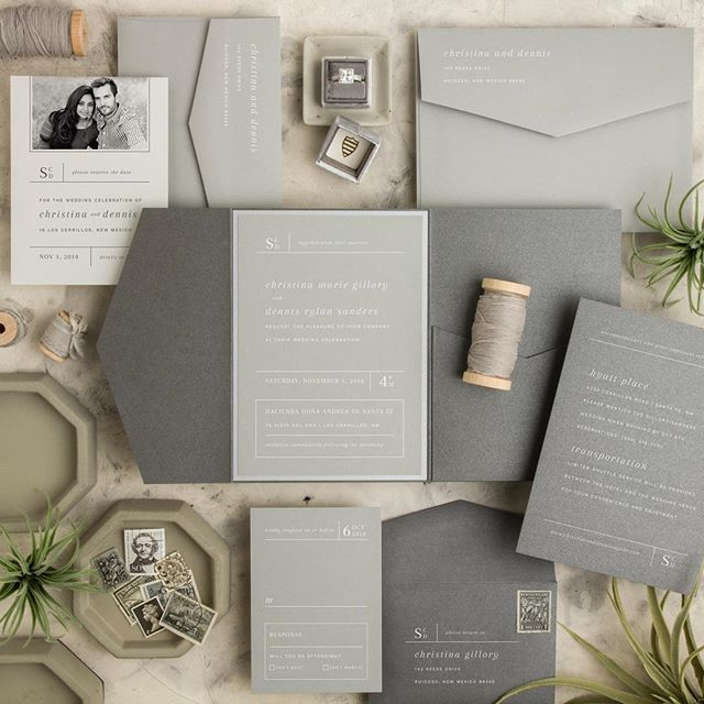 Here's another from our semi-custom collection! We love a monochromatic invitation w/white ink! #invitation #gray #monochromatic #whiteink #envelopes #weddinginvitation #akron #medina #ohio #cleveland #wedding