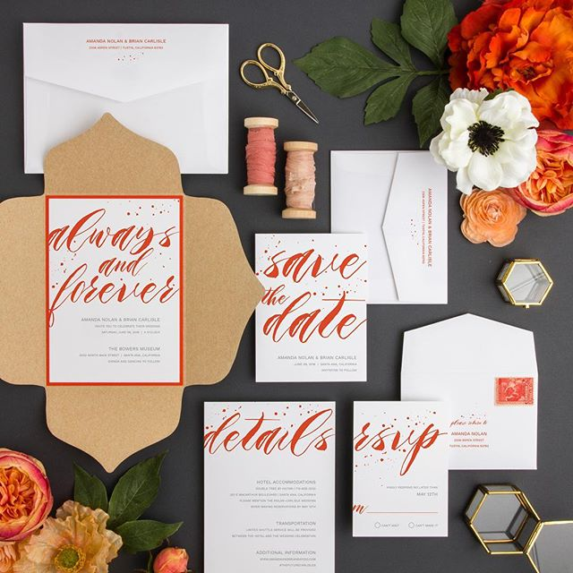Craft paper, bold colors and watercolor script? We're in! Here's another from our semi-custom collection.  #poppy #brightcolors #red #orange #wedding #invitation #ohio #akron #medina #shoplocal