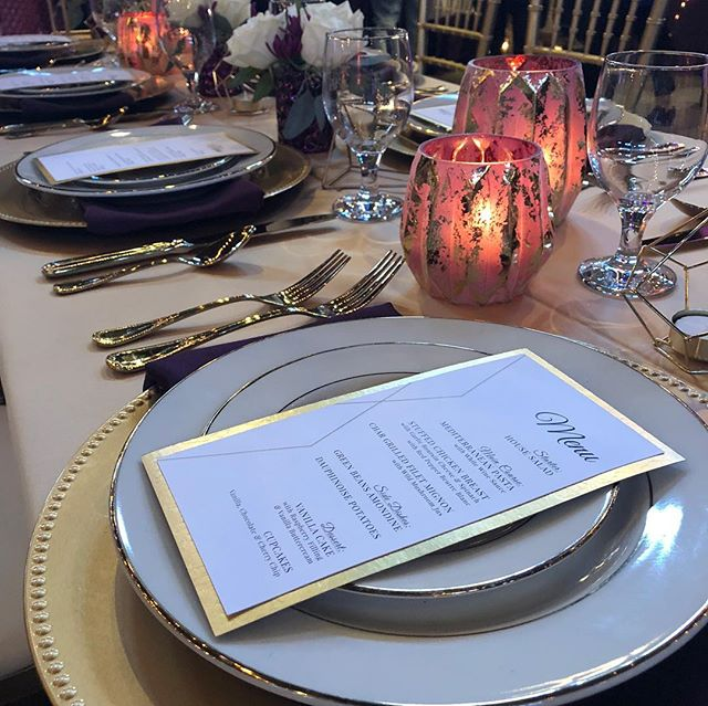 Gold foil menus put the finishing touch on this gorgeous table! A few more from the Beloved Ohio show tonight! #wedding #decor #menu #placesetting #medina #cuyahogafalls