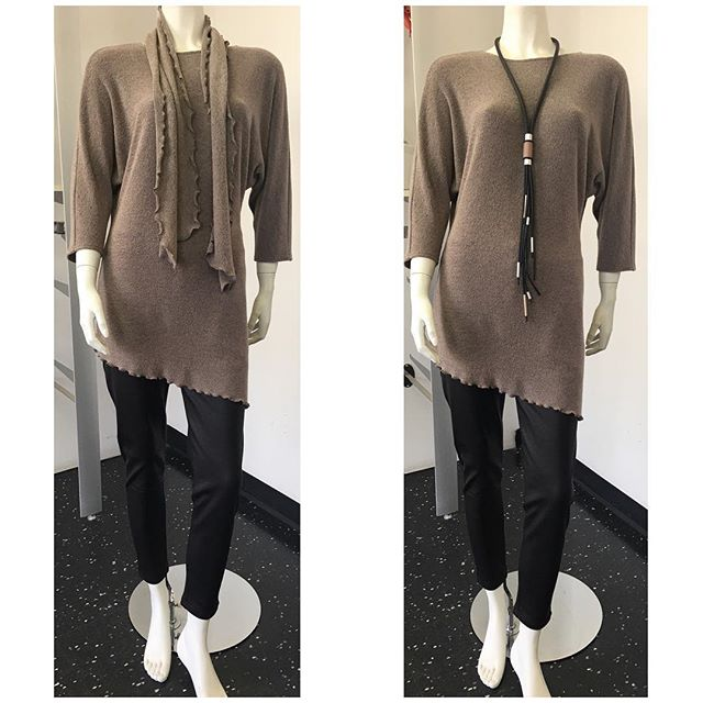 Anna's tunic with scarf in sand colour $65 Necklace $56  #womensfashion #womensstyle #womenswear #style #fall #winter #fallfashion #winterfashion #tunic #accessories #madeincanada #canadianmade #mississauga #etobicoke #toronto #gta
