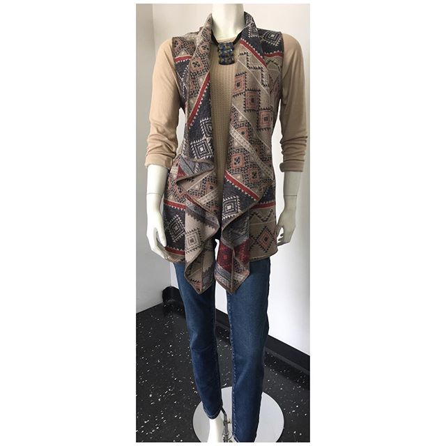 Aztec inspired vest (acrylic/wool blend) $110 Soft poly/cotton blend top in linen colour $68 Ankle length jeans $85 Necklace $38  #womensfashion #womenswear #womensstyle #style #fashion #fallfashion #fallstyle #winterfashion #winterstyle #accessories #fall #winter #mississauga #etobicoke #toronto #gta