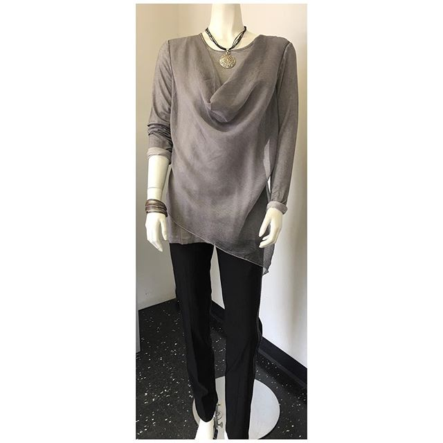 Double layered top in stone $79 (also available in blush & sand) Pant with faux leather trim $85 Necklace $48 Leather bracelet $42  #womensfashion #womenstyle #womensapparel #fashion #style #fall #fallfashion #winter #winterfashion #accessories #neckalces #bracelets #missisauga #etobicoke #toronto #gta