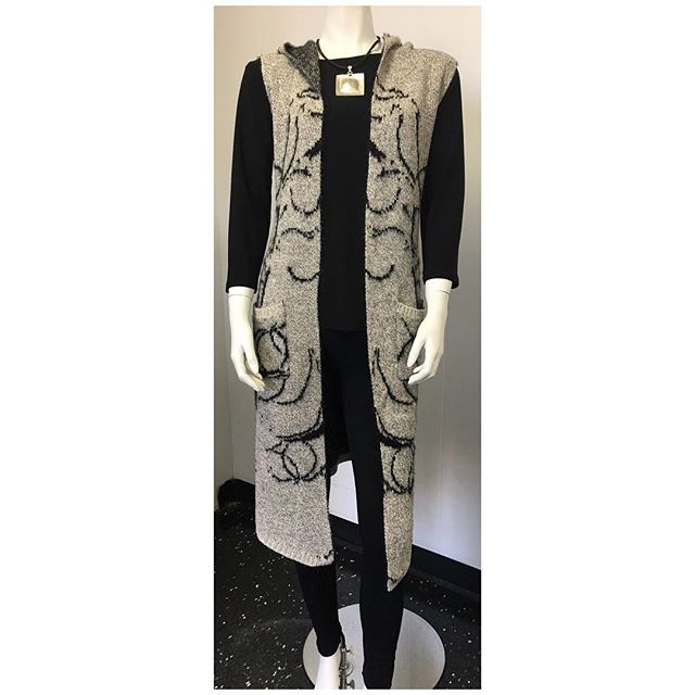 Anna's top $45 Fleece lined leggings $26 Sleeveless cardigan $58 Necklace $48  #fallfashion #fallstyle #fallcolletion #winterfashion #winterstyle #wintercollection #style #fashion #fall #winter #accessories #womensfashion #womenswear #womensfashion #canadianmade #madeincanada #mississauga #etobicoke #toronto #gta