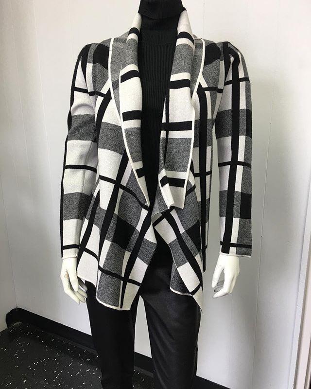 Black & Winter White Cardigan $140  #womensfashion #womenswear #womensapparel #fall #fallfashion #winter #winterfashion #blackwinterwhite #cardigans #mississauga #etobicoke #oakville #toronto #gta