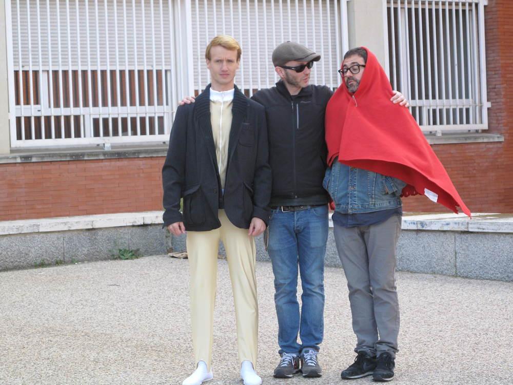 Pérez y Stein en el rodaje de  El Coleccionista  con César Amaro