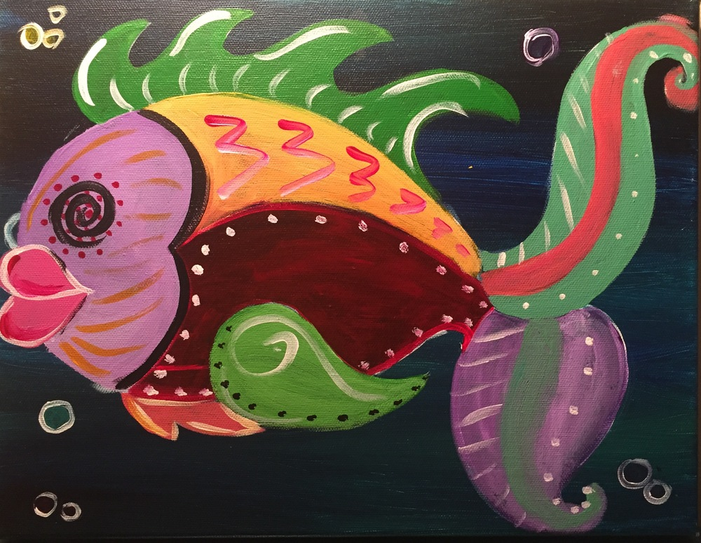 Create your own funky fish! This class is fun for kids and adults of all ages. Pack the family up and come paint with us.. Tickets are $25 and includes a lunch of either chicken tenders and fries or mac n cheese. To purchase tickets click  here!
