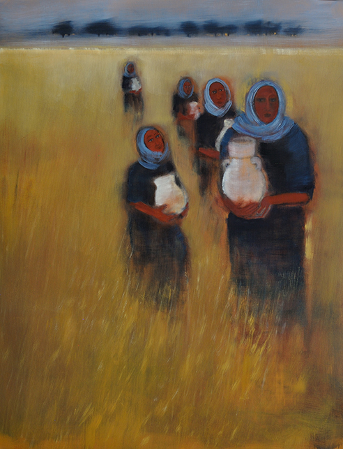 Women Carry the World, oil on paper, 20 x 26 inches
