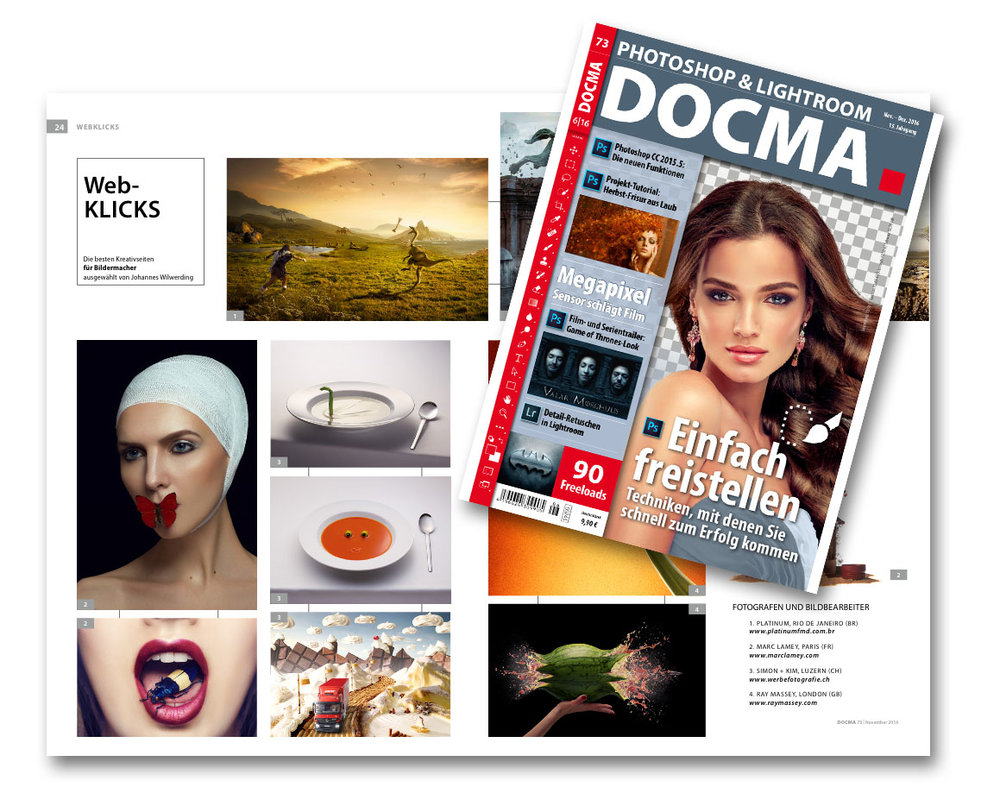 Feat. in DOCMA Magazin. Germanys biggest magazin for Photographers and Retouchers.