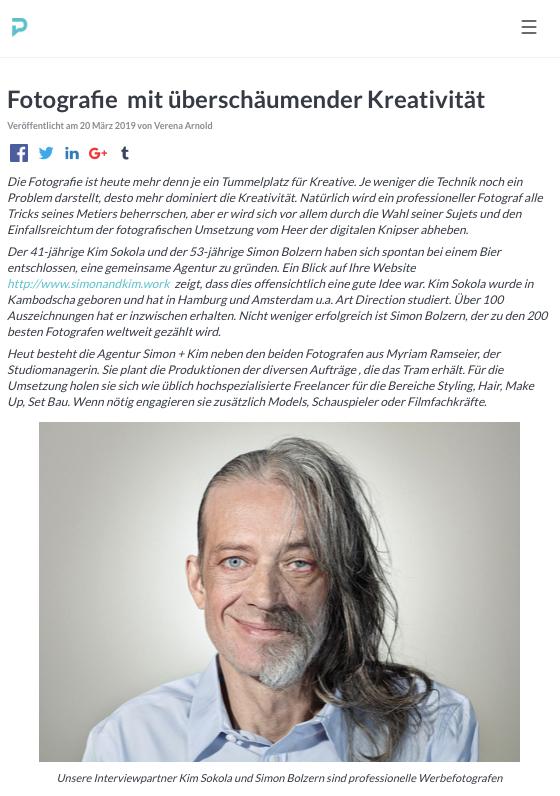 Interview mit ProntoPro über simon+kim und die Werbefotografie. Danke für die Veröffentlichung. Gesamtes Interview lesen,    hier klicken.