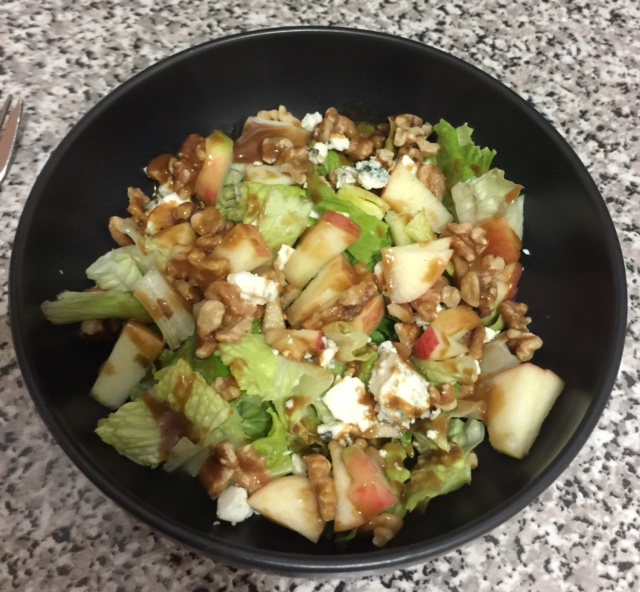 My favorite fall salad of romaine, honeycrisp apples, gorgonzola, walnuts, & this dressing