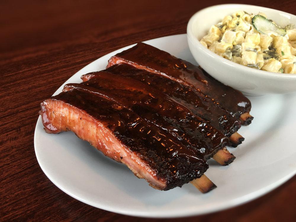 BBQ Pork Ribs & Mac Salad